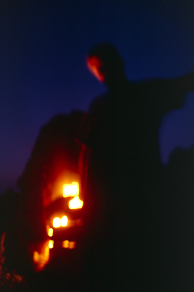 Night sky plus fire glare