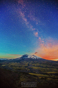 """Fading Night,"" 35th Anniversary: Milky Way Sunrise over Mt St Helens, Mt St Helens National Volcanic Monument, Washington"