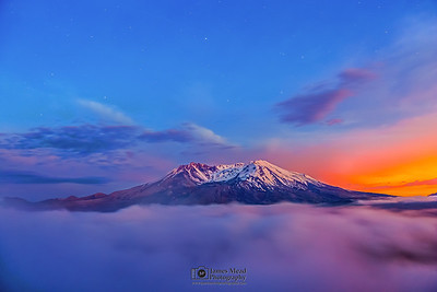 """Smoking Mountain,"" Mount St Helens 35th Anniversary Nautical Twilight, Mt St Helens National Volcanic Monument"