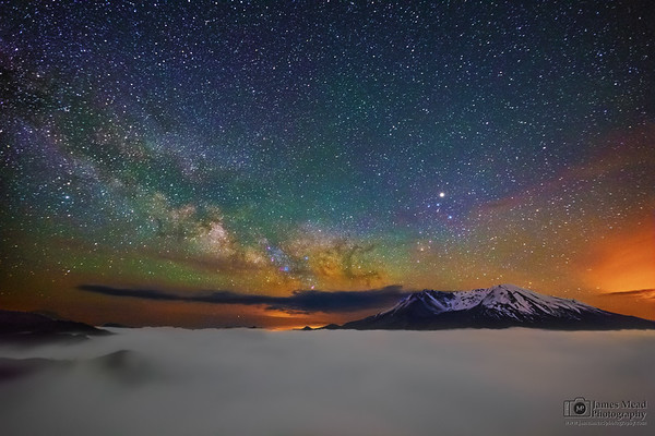 """""""Above the Clouds,"""" 35th Anniversary: The Milky Way over Mount St Helens, Mt St Helens National Volcanic Monument"""