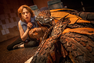 Word for Word's production of 36 Stories by Sam Shepard, at Z Below 5/21/14 through 6/22/14.  L to R: JoAnne Winter, Carl Lumbly. Photo by Mark LeialohaThe Driver (JoAnne Winter) discovers an injured hawk (Carl Lumbly) on the highway.