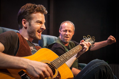 Word for Word's production of 36 Stories by Sam Shepard, at Z Below 5/21/14 through 6/22/14.  L to R: Patrick Alparone, Rod Gnapp. Photo by Mark Leialoha.The Writer (Rod Gnapp) is serenaded on his journey by The Musician (Patrick Alperone).