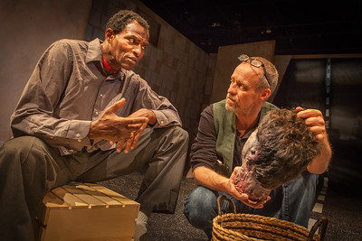 Word for Word's production of 36 Stories by Sam Shepard, at Z Below 5/21/14 through 6/22/14.  L to R: Carl Lumbly, Rod Gnapp. Photo by Mark LeialohaThe Writer (Rod Gnapp) has a philosophical discussion with the spirit of the severed head (Carl Lumbly).