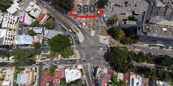 Parque Hermanas Mirabal donde convergen varias avenidas como la Av Las Carreras, Av Imbert, Av Hermanas Mirabal y Av Presidente Antonio Guzmán Fernández. Santiago de los Caballeros - 24 de Julio, 2020.