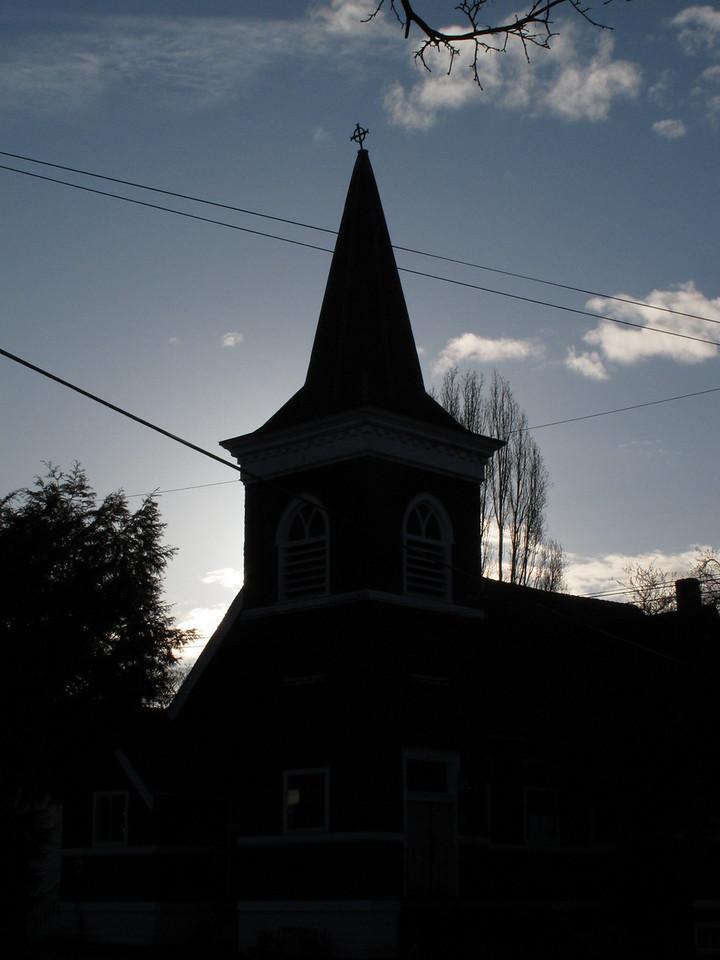 Steeple silhouette.<br /> <br /> Victoria, BC.