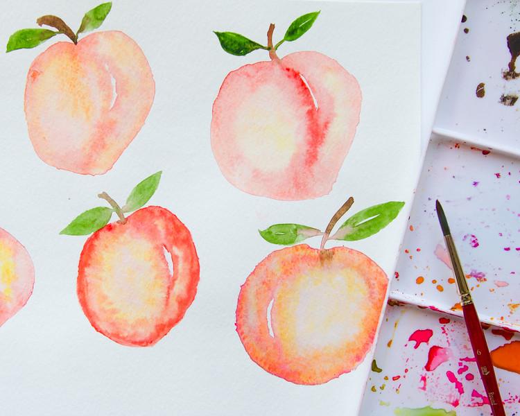 Watercolor peach practice