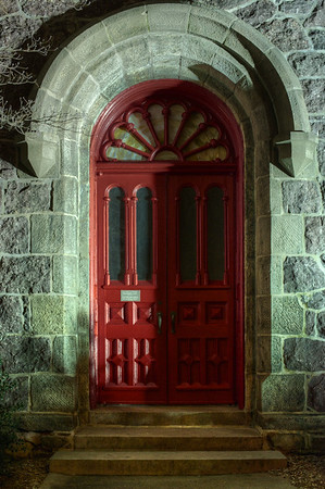 A Morristown historic church's doors are illuminated with a deeper meaning, Good Vs. Evil.