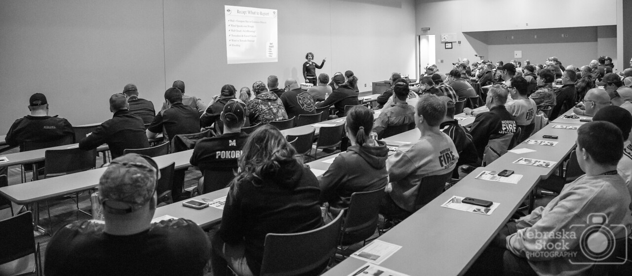4-17-2018<br /> 107/365<br /> <br /> Suzanne Fortin, the head meteorologist from the US National Weather Service Omaha talks to the local weather spotter of Northeast Nebraska Tuesday night at the Long Life Learning Center in Norfolk. <br /> Photo taken with a Sony A7rIII with a Sony FE 24-105 F4<br /> ISO 12800<br /> 1/60th at F4<br /> (60306)