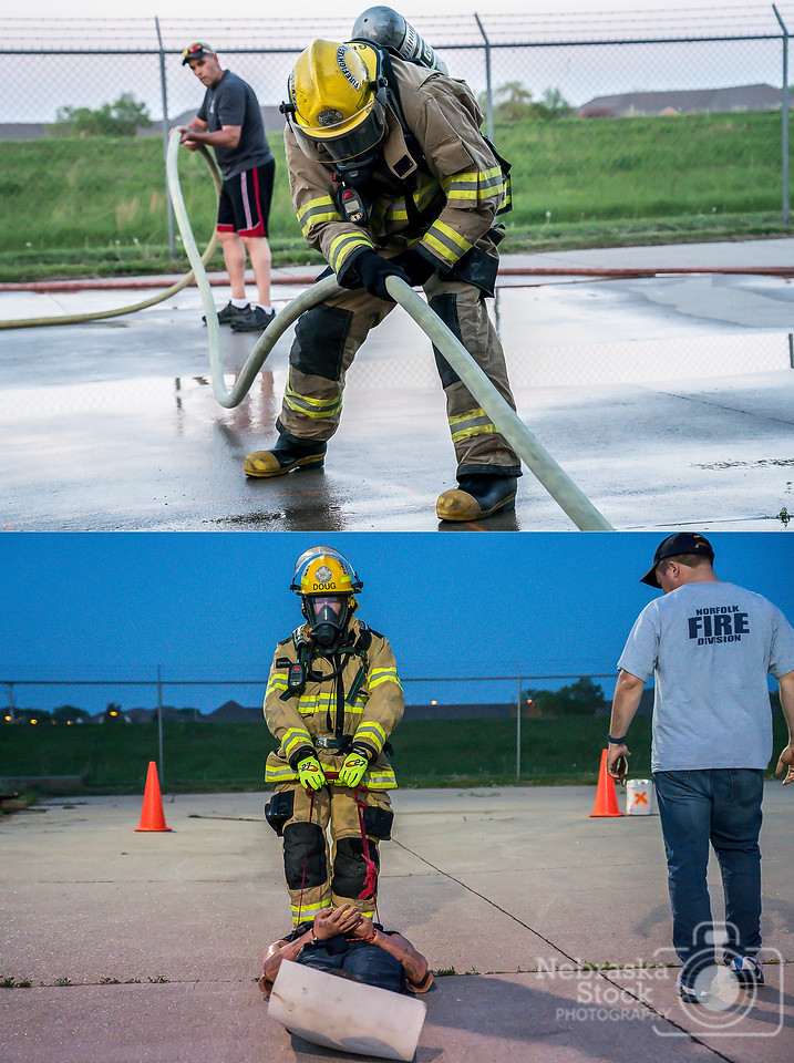 5-15-2018<br /> 135/365<br /> My photo of the day is a double photo put into one photo. Why may you ask? Well, these two firefighter from Norfolk are shown doing their annual physical fitness test. They are full gear on full SCBA, and go through a 5 to 6 minutes full physical test that will make you drop to your knees when you are done. I witness through many years are young adults not finish this physical challenge. <br /> What I am not telling you, is the guy on top picture is 59 years young and the guy in the bottom picture is 64 years young. Both finish with amazing times. Both with 20 plus years with Norfolk Fire Reserves. Hats off to these two guys for putting in the years and time for the City of Norfolk. <br /> <br /> Top picture was taken with Sony A9 with a Sony FE 24-105<br /> ISO 6400<br /> 1/640th at F4<br /> Bottom picture was taken with Sony A9 with a Sony FE 24-105<br /> ISO 12800<br /> 1/250th at F4<br /> (90041)