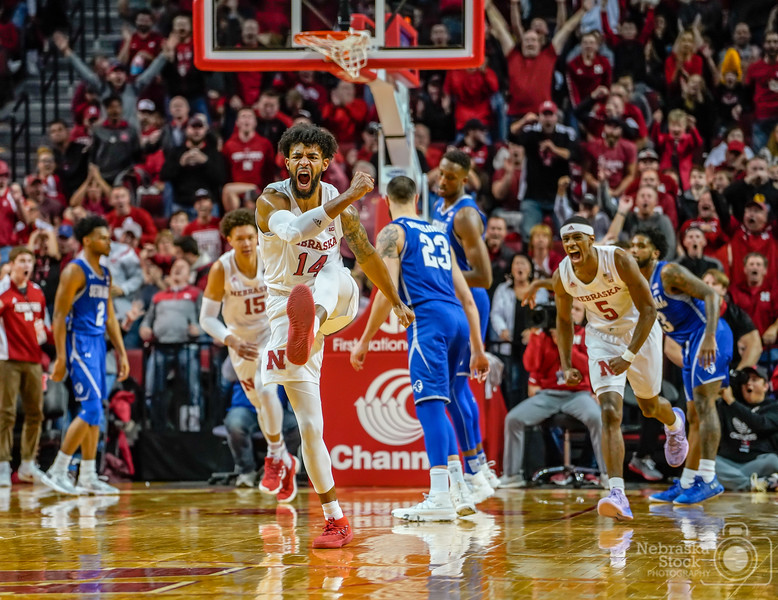 11-14-2018<br /> 318/365<br /> Nebraska's Isaac Copeland Jr. celebrates a basket by Isaiah Roby late in the second half against Seton Hall. The Huskers defeated the Pirates 80-57. <br /> Photo taken with a Sony A7rIII with a Sony FE 70-200<br /> ISO 3200<br /> 1/800th at F4<br /> (204816)