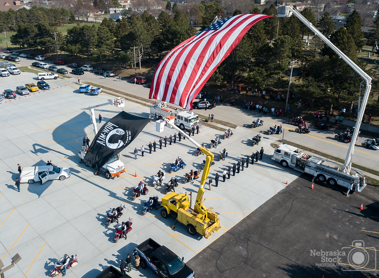 4-23-2018<br /> 113/365<br /> The American Legion Riders escort the remains of Korean War Veteran Milton Beed. Beed was a POW/MIA and his remains were discovered a few years ago. Today they were finally brought home to Norfolk to be laid to rest. <br /> Photo taken with a DJI Mavic Pro <br /> ISO 100<br /> 1/1000th at F2.2<br /> (63996)