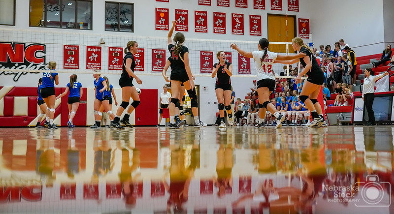9-18-2018<br /> <br /> 261/365<br /> <br /> The Norfolk Catholic Lady Knights celebrate a point against Wayne in their volleyball Tuesday night. Wayne ended up sweeping the Knights in three sets. <br /> <br /> Photo taken with a Sony A7rIII with a Sony FE 24-105<br /> <br /> ISO 5000<br /> <br /> 1/800th at F4<br /> <br /> (159844)