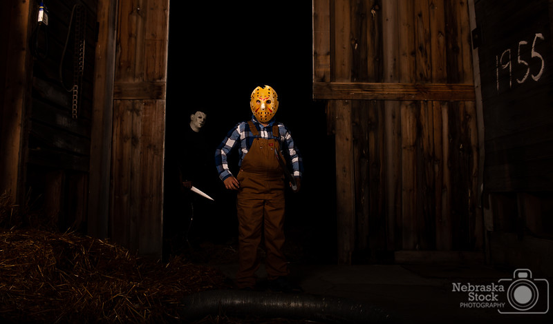 10-30-2018<br /> <br /> 303/365<br /> <br /> Michael Myers and Jason Voorhees were running loose last night in Pierce County........<br /> <br /> This is what happens when your dad is a big horror movie fan and loves halloween and your son has followed in in your footsteps..... and you have some photography equipment in your office. <br /> <br /> Photo taken with a Nikon D600 with a Nikon 28-70<br /> <br /> Two flash boxes<br /> <br /> ISO 200<br /> <br /> 1/250th at F6.3<br /> <br /> (191465)
