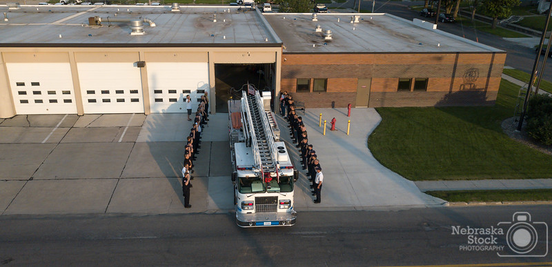 7-4-2018<br /> 185/365<br /> 7:00am on July 4th marks the last time Captain Reding leaves Norfolk's Station 1. Captain Reding retires today from Norfolk Fire and Rescue after 40 years of service to the community of Norfolk. Enjoy retirement JR. <br /> Photo taken with a DJI Mavic Pro<br /> ISO 100<br /> 1/2000th at F2.2<br /> (112509)