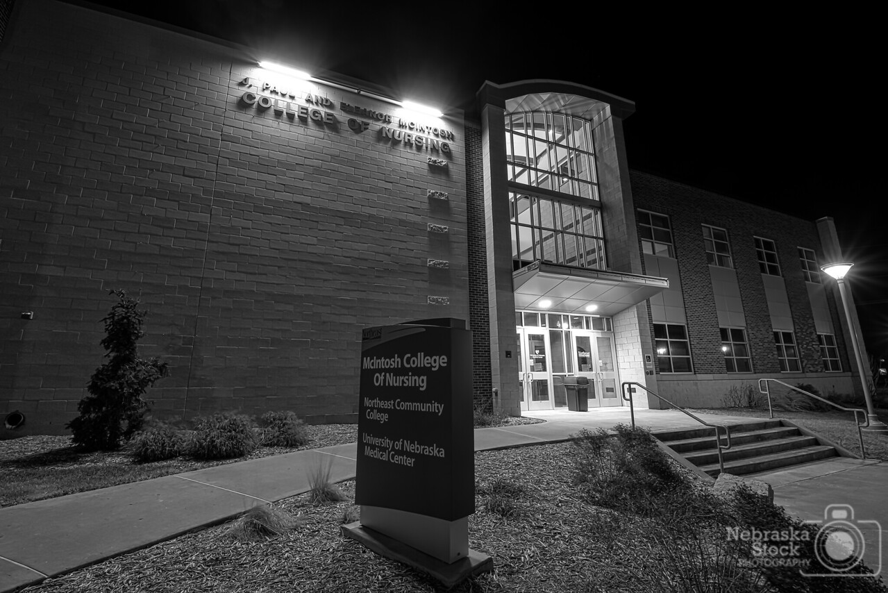 4-8-2018<br /> 98/365<br /> The J.Paul and Eleanor McIntosh  <br /> College of Nursing Building at Northeast Community College <br /> in Norfolk.<br /> Photo taken with a Nikon D600 with a Tamron 15-30<br /> ISO 200<br /> 6 seconds at F10<br /> (55486)