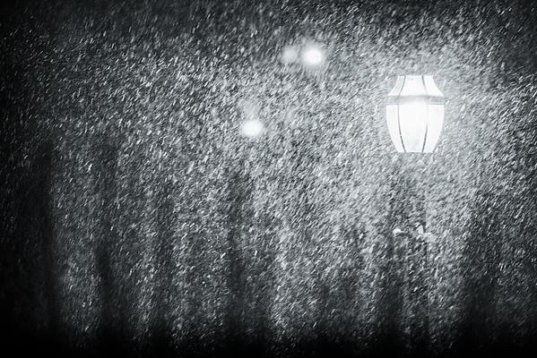 snow squall, night