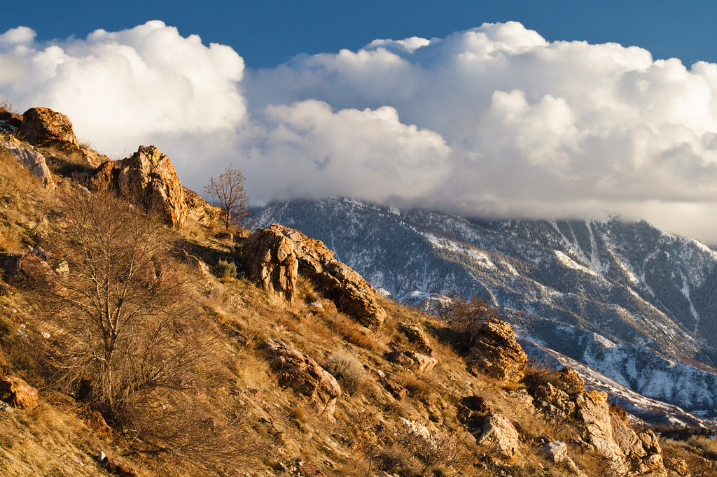 45 of my 365 project; lone peak in the clouds
