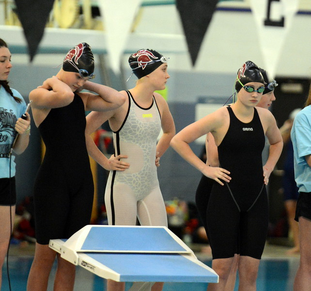 Berthoud's 200-yard medley relay team readies itself for the consolation heat during Saturday's finals of the 3A Girls State Swimming & Diving Championships at EPIC in Fort Collins. (Mike Brohard/Loveland Reporter-Herald)