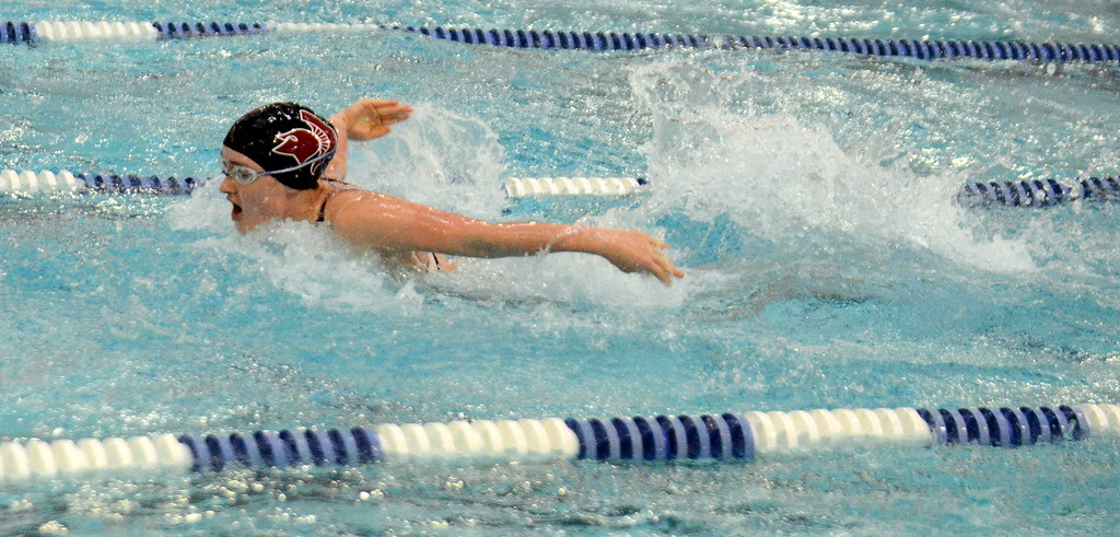 . Berthoud\'s Macy Fitzgerald does the butterfly leg of the 200-yard medley relay during Saturday\'s finals of the 3A Girls State Swimming & Diving Championships at EPIC in Fort Collins. (Mike Brohard/Loveland Reporter-Herald)