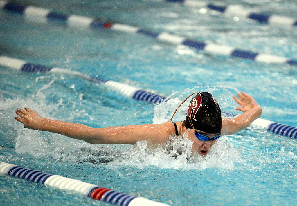 . Jamie Dellwardt of Berthoud does the butterfly leg of the 200-yard individual medley during Saturday\'s finals of the 3A Girls State Swimming & Diving Championships at EPIC in Fort Collins. The sophomore placed third in a time of 2:12.06. (Mike Brohard/Loveland Reporter-Herald)