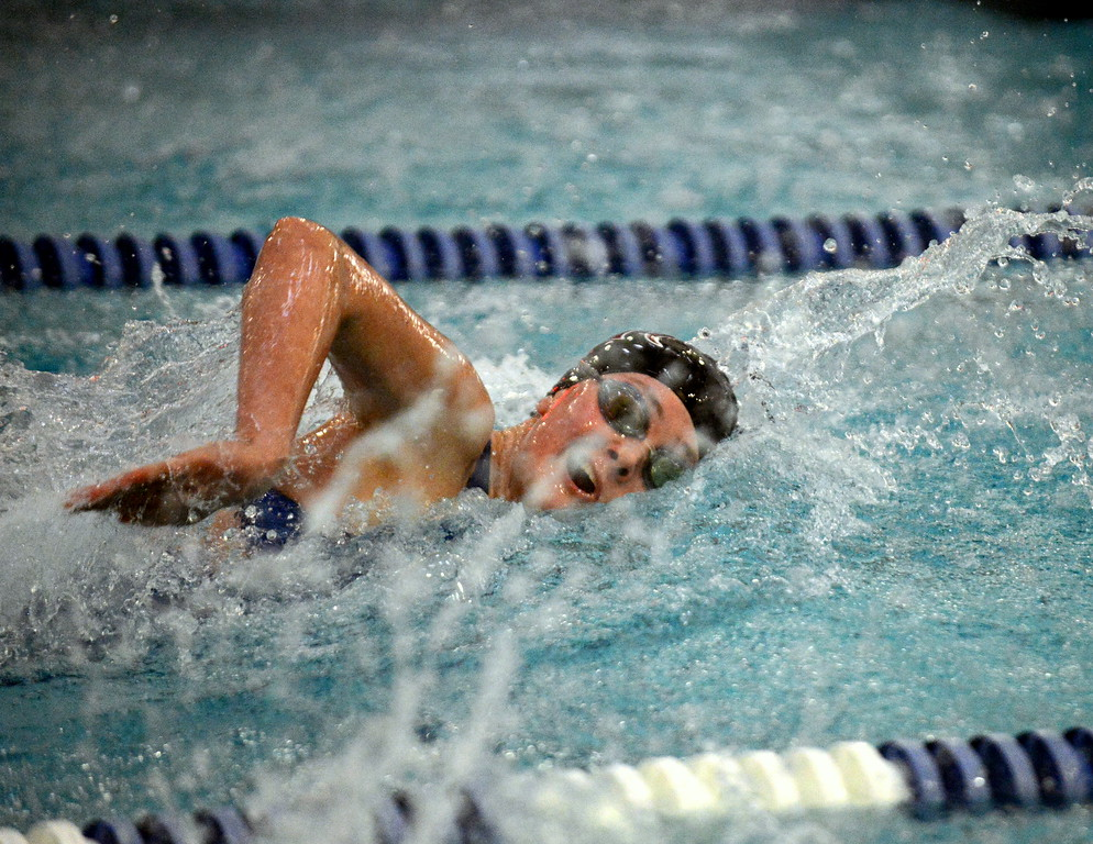 . Abby Dodd of Berthoud takes a breathe during the 50-yard freestyle consolation heat during Saturday\'s finals of the 3A Girls State Swimming & Diving Championships at EPIC in Fort Collins. Dodd placed 12th with a time of 26.29. (Mike Brohard/Loveland Reporter-Herald)