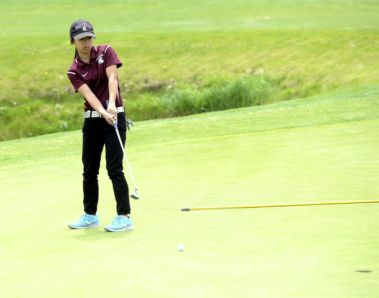 Berthoud's Emma Garner putts during Monday's 3A Region 3 golf tournament at Highland Meadows golf course in Windsor.