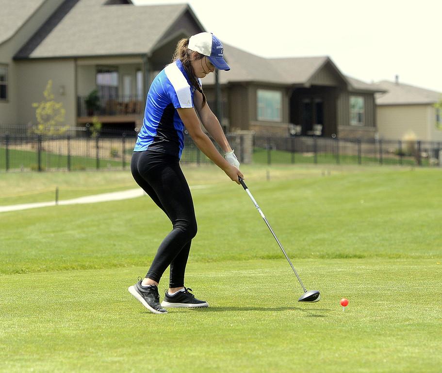 Resurrection Christian's Morgan Sailer prepares to a drive during Monday's 3A Region 3 golf tournament at Highland Meadows golf course in Windsor.  (Photo by Mike Brohard/Loveland Reporter-Herald)