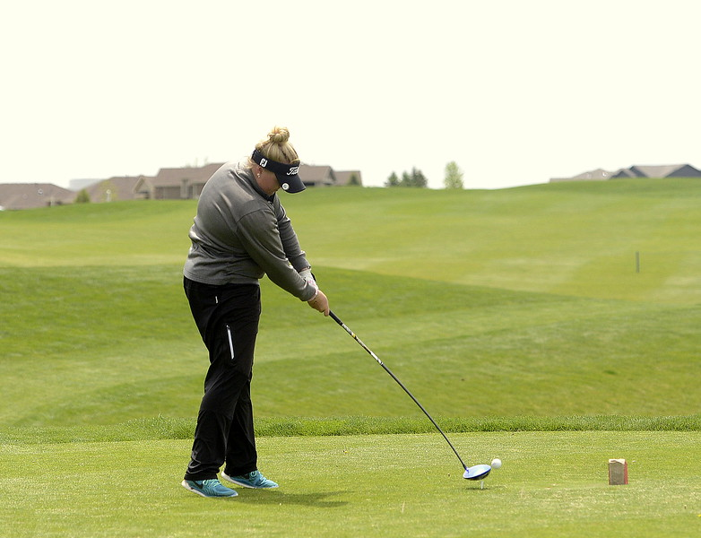 Berthoud's Molli Boruff rips a drive during Monday's 3A Region 3 golf tournament at Highland Meadows golf course in Windsor. Boruff placed third with an 85, qualifying for the state tournament.