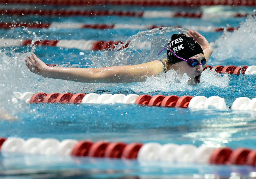 . Estes Park High School\'s Abby Lemirande swims in the 100-yard Butterfly race during the CHSAA 3A Swimming Championships on Friday at the Veterans Aquatic Center in Northglenn. More photos: BoCoPreps.com Jeremy Papasso/ Staff Photographer 02/09/2018
