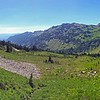 """Goat Rocks—Goat Lake Hike/CampWA-20aug2016. <br>https://connect.garmin.com/modern/activity/1315013895<br>Goat Rocks Wilderness in the Snoqualmie/Gifford Pinchot National Forest on the crest of the Cascade Range. <br>Hot Hike. One of the hottest days of 2016. Bill and I embarked on Snowgrass Trail #96 and reached camp a little over 5-miles later. Did a quick set-up of tents and then traversed another 2+miles on the Lily Basin Trail to Goat Lake. The aqua-marine waters were tempting in the afternoon sun, but we elected to only cool our heels and not take the deep dive into the glacier waters, like several hikers around us. The vista views from trail #86 were incredible. I felt like I needed to keep my cameras on panoramic mode. Crossing waterfalls, looking up at mountain goats on the ledges of Hawkeye Point, gazing across the lush green/flowers blooming valley at Mount Adams. 10-miles/2500' elevation gain of hike in a photographers paradise. Back at base camp, we ate dinner around the campfire and talked world affairs with our Russian neighbors. A very memorable, very cool all-around experience. I awoke around 2am thinking someone was shining a light into my tent. Poked my head out and was greeted by a shockingly bright full moon and spectacularly clear star-field that reminded me of the night I summited Rainier. Little did I know, my fav take-away from this hike/campout (photography """"magic moment"""") was about to happen at sunrise on the Pacific Coast Trail…<br>Mt Adams.<br><br>WA-goat_rocks-20aug2016i8820"""