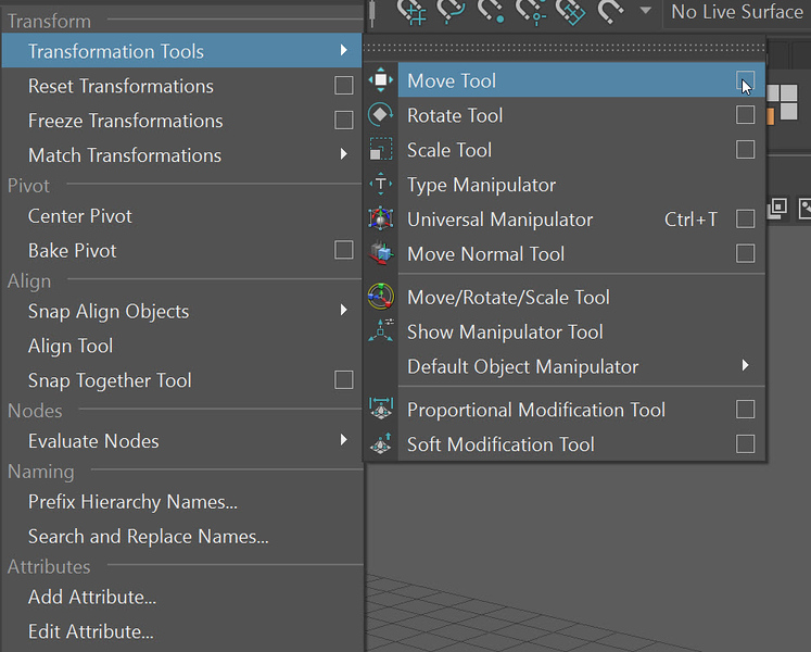 1-4 Accessing the settings of the Move tool