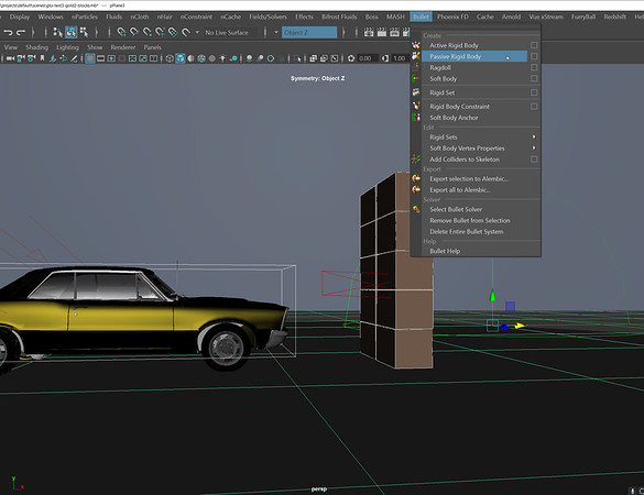7-64 Making the car and the blocks rigid colliders