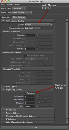 Figure 2 7 Maya Software Renderer options