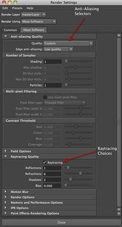 Figure 2 7 Maya Software Renderer options