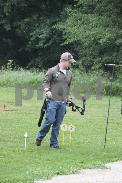 Jacob Asche  approaches the spot to take his turn at the 3-D Archery Shoot at Kennedy Park held on Saturday, June 13, 2015. The event will continue on Sunday, June 14, 2015.