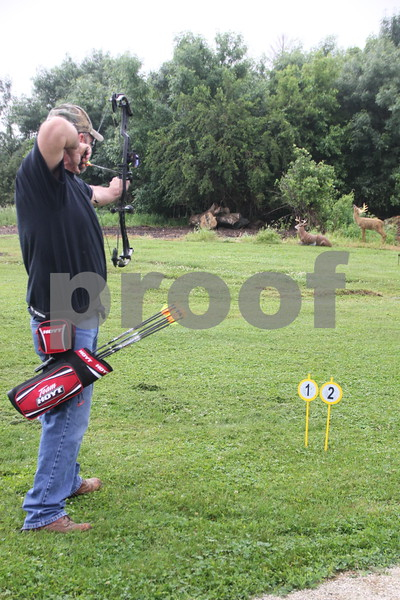 Taking aim  is Steve McNeil as he participates in the 3-D Archery Shoot held at Kennedy Park on Saturday, June 13, 2015. Sunday, June 14, 2015 will be the last day of this event this go round.