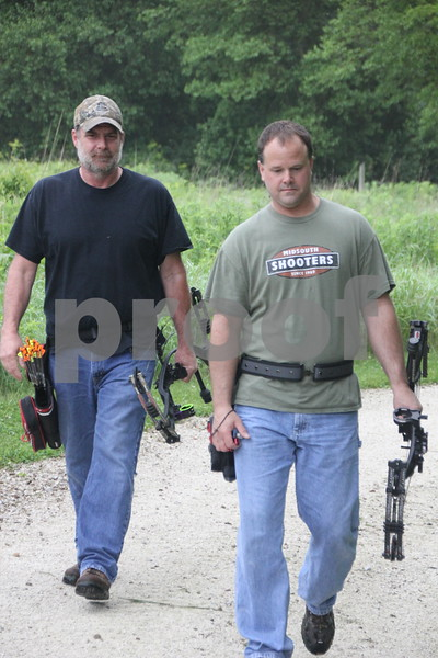 On their way to the next  target station at Kennedy Park is (left to right): Steve McNeil and Jeff Waldera. They are participants in the 3-D Archery Shoot that took place at Kennedy Park on Saturday, June 13, 2015. It ends on Sunday, June 14, 2015.