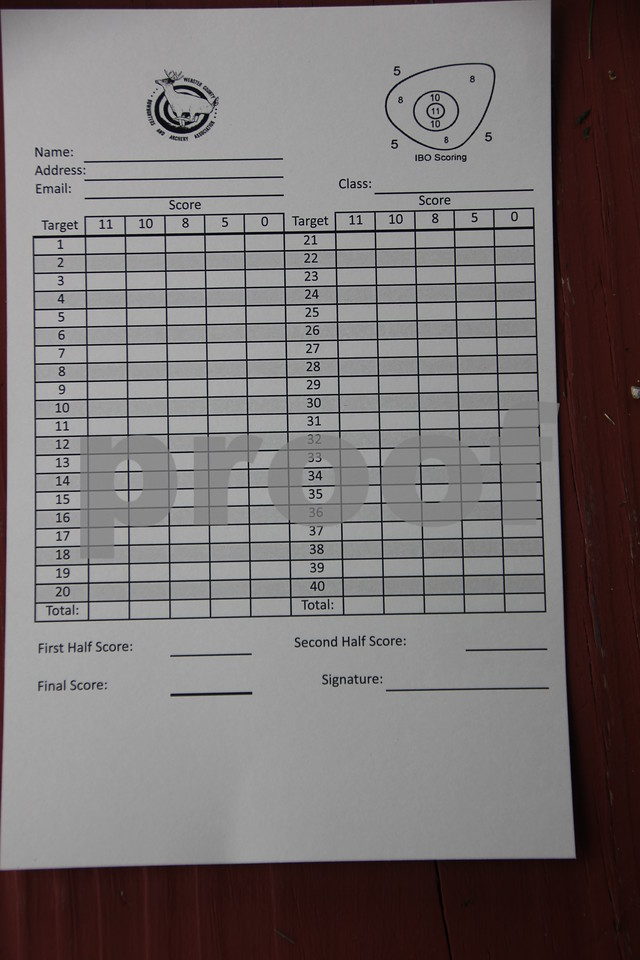 A sample score card  for the 3-D Archery Shoot held on Saturday, June 13, 2015 through Sunday, June 14, 2015 is shown here.  The event  took place at Kennedy Park.