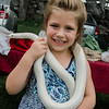 Sabrena LeBlanc, 5, holds a boa during the 3D bow hunting event that was held at Hollis Hills Farm, co-sponsored by Boston Bow Hunters, on Saturday, July 22, 2017. SENTINEL & ENTERPRISE / Ashley Green