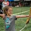 Melinda Scott, 7, shoots during the 3D bow hunting event that was held at Hollis Hills Farm, co-sponsored by Boston Bow Hunters, on Saturday, July 22, 2017. SENTINEL & ENTERPRISE / Ashley Green