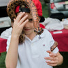 Nathan LeBlanc, 7, holds a Brazilian Rainbow Boa during the 3D bow hunting event that was held at Hollis Hills Farm, co-sponsored by Boston Bow Hunters, on Saturday, July 22, 2017. The snakes were from New England Reptile Shows. SENTINEL & ENTERPRISE / Ashley Green