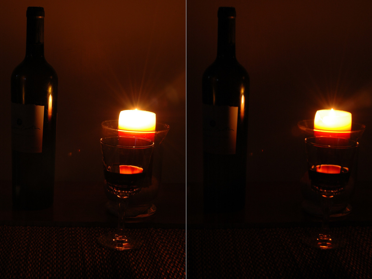 "Apply the ""Rule of Thirds"" principle to a 3D Stereogram. 1/3 of a bottle down, 1/3 of a candle burned, 1/3 of a glass left."
