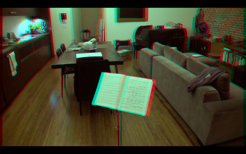 3D frame grab from video converged on the front of the table using Dashwood Stereo3D Toolkit v2 in Final Cut Pro. Equipment: Two Sony CX550V camcorders in parallel (no toe-in convergence) with 0.75x wide-angle adapters attached. Approx 67mm stereo base (inter-ocular distance).