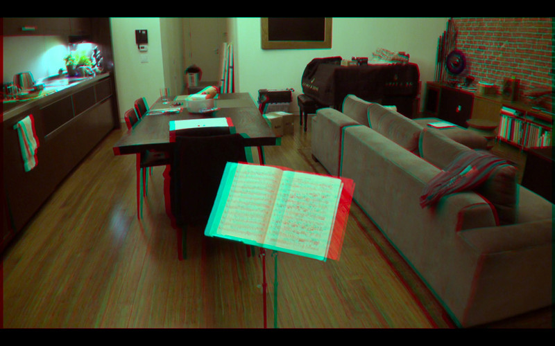 3D frame grab from video converged on the back wall using Dashwood Stereo3D Toolkit v2 in Final Cut Pro. Equipment: Two Sony CX550V camcorders in parallel (no toe-in convergence) with 0.75x wide-angle adapters attached. Approx 67mm stereo base (inter-ocular distance).