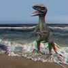 T-Rex playing in surf