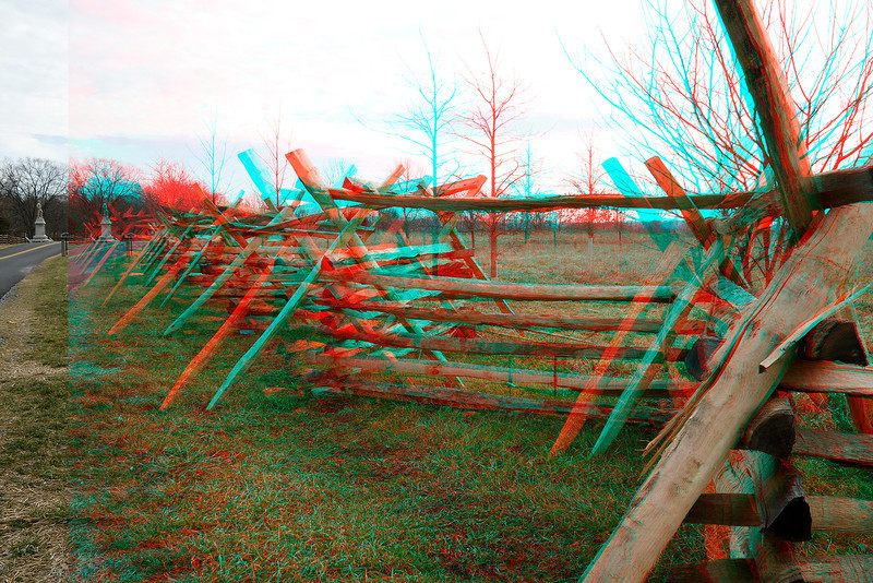 Split Rail Fence at Antietam Battlefield. Never was able to get 2D picture to show this fence well. 3D does it very weill.