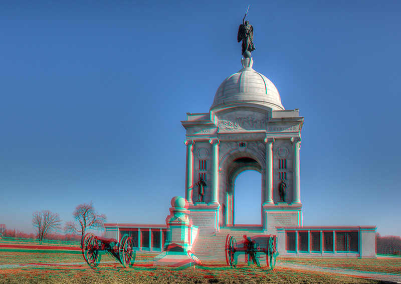 Pennsylvania Monument at Gettysburg Battlefield. 3D you need your glasses
