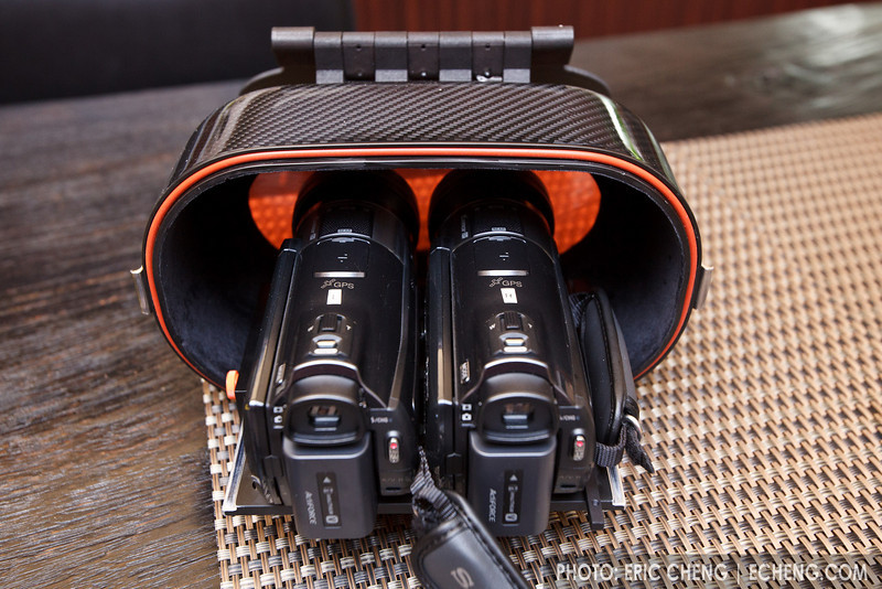 Two Sony CX550V camcorders mounted on the base tray inserted in housing