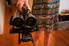 Two Sony CX550V camcorders set up for 3D stereoscopic imaging, mounted on Really Right Stuff hardware and an Opteka X-Grip