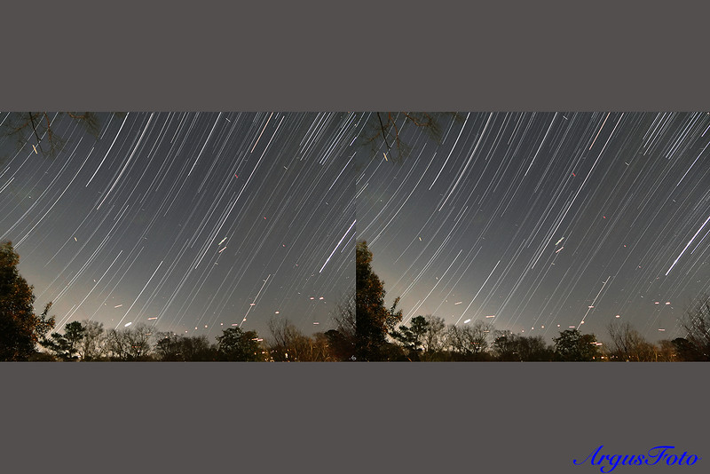 Star trail looking due East from my backyard. BHM Airport is less than 3 miles away. It is in the lower left corner. I left the airplane trails in the picture.